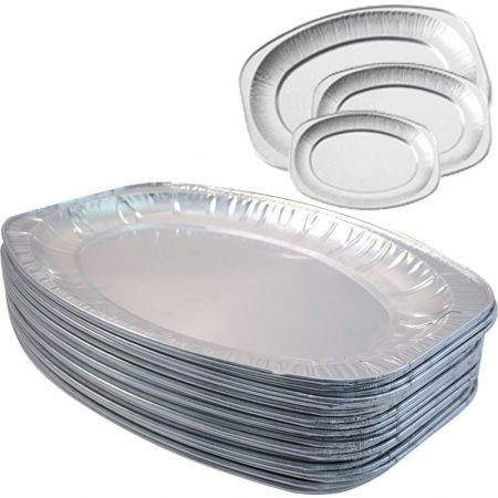 Alu oval tray (35 x 25 cm) for 3 persons (100 pcs/ctn)
