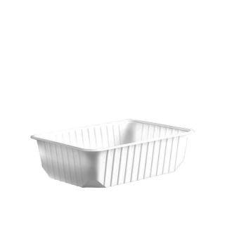 Import plastic square box 750 ml white PP (50 pcs/pck) (12 pcs/ctn)