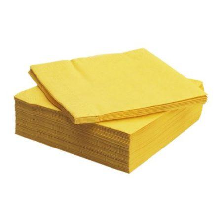 Napkin folded in 4, 2 layers YELLOW (33 x 33 cm) (250 sheet/pck) (6 pck/ctn)