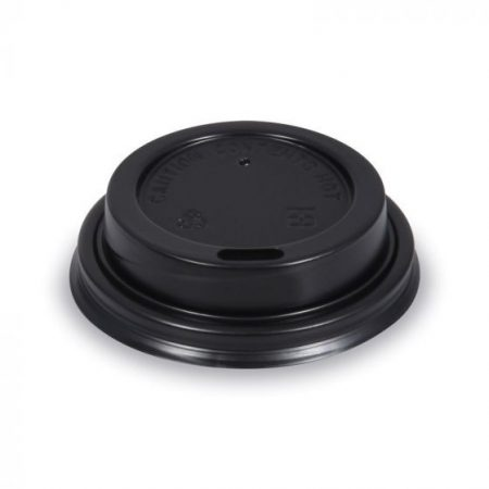 """Paper cup lid for 3-4 dl """"Time"""" black (50 pcs/pck) (20 pck/ctn)"""